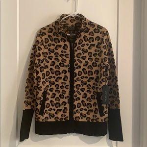 Rachel Zoe zip up leopard sweater